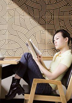 Concept Surfaces series: TAILORED -  #walltile #pattern #tile #cardboard #swirl #graphicpattern #retaildesign #hospitalitydesign
