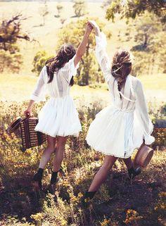 White summer dresses + sun hats + booties // Vogue Australia