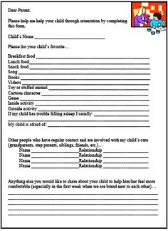 Parent Survey Printable for Child Care