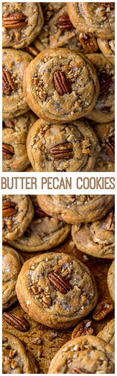 Thick chewy and insanely delicious Butter Pecan Cookies! And they're freezer friendly too! Thick chewy and insanely delicious Butter Pecan Cookies! And they're freezer friendly too! Butter Pecan Cookies, Keto Cookies, Cookie Desserts, Yummy Cookies, Cookies Et Biscuits, Just Desserts, Cookie Recipes, Dessert Recipes, Pecan Recipes