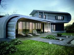 Thoughtful Log Architectural Home Design With Curved Shaped Idea Featured Futuristic Outdoor Beds And Gray Decking Floor