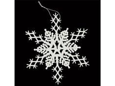 White Glitter Plastic Snowflakes