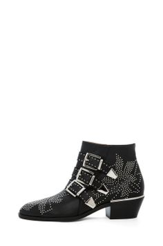 Chloe|Susanna Leather Studded Bootie in Black