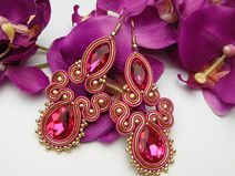 A beautiful original earrings , hand-crafted and self-designed, created using a time-consuming soutache technique. **Cute earrings in an elegant shade of a fuchsia rose color with crystal. Fabric Earrings, Soutache Earrings, Shibori, Gold Bridal Earrings, Self Design, Cute Earrings, Vintage Pins, Beaded Embroidery, Custom Jewelry