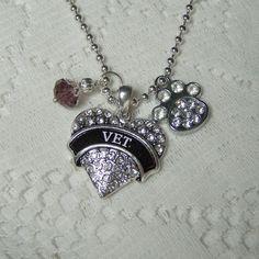 VET Birthstone Necklace Veterinarian Heart by SouthernBelleOOAK