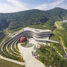 Fangshan Tangshan National Geopark Museum: Location: Nanjing, Jiangsu, China Year of Construction: 2014 Architects: Studio Odile Decq A building rises, contoured in a very organic way forging a relationship with it's site and the surrounding context. Architecture Design, Green Architecture, Futuristic Architecture, Sustainable Architecture, Amazing Architecture, Landscape Architecture Model, Museum Architecture, Contemporary Architecture, Nanjing