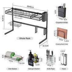 Utensil Storage, Diy Kitchen Storage, Storage Shelves, Kitchen Room Design, Home Decor Kitchen, Shelf Holders, Sink Design, Dish Racks, Cool Kitchen Gadgets