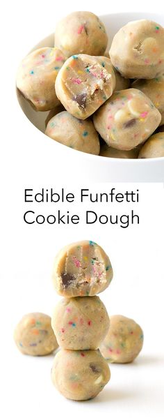 Edible Funfetti Cookie Dough - Sweetest Menu - - Egg-free cookie dough filled with colourful funfetti pieces and chunks of white and milk chocolate. Healthy Cookie Dough, Cookie Dough Recipes, Edible Cookie Dough, Fun Baking Recipes, Sweet Recipes, Snack Recipes, Cookie Dough Truffles, Cookie Dough Dip, Chocolate Cookie Dough