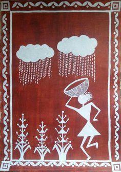 rain Worli Painting, Sketch Painting, Fabric Painting, Indian Art Paintings, Indian Folk Art, Madhubani Painting, Monochrom, Traditional Paintings, Kooples