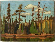 """""""The Pool,"""" Lawren S. Harris, ca. 1918, oil on wood panel, 10.55 x 13.9"""", McMichael Canadian Art Collection."""