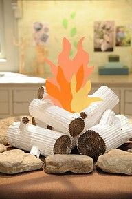 faux fire centerpiece for prayer table