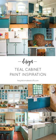 Teal Cabinet Paint Colors Cheap Kitchen Remodel, Galley Kitchen Remodel, Ranch Kitchen, Condo Kitchen, Teal Cabinets, Painting Kitchen Cabinets, Kitchen Cupboards, Inexpensive Home Decor, Cheap Home Decor