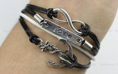 Children's bracelet -Anchor & Infinity Bracelet, silver anchor bracelet and infinity wish bracelet, Black leather bracelet