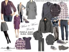 gray, purple, black, denim what to wear for a family session