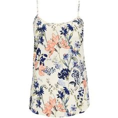 Wallis Cream Floral Print Camisole (28 AUD) ❤ liked on Polyvore featuring tops, tank tops, shirts, tanks, blusas, cream, layering tank tops, floral print shirt, cami tank tops and cream shirt