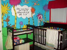 I'm totally not the person to post baby things...but how fricken cute is a Lorax nursery!!