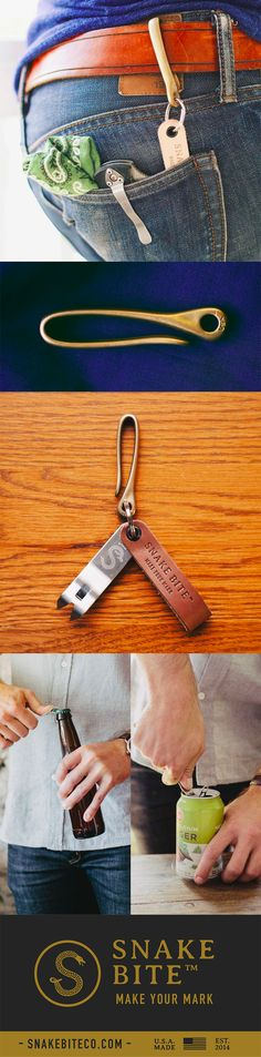 The Snake Hook key chain loop is cast solid brass that is finished by hand. Pair it with The Original Snake Bite stainless steel and leather bottle opener for an amazing gift any guy would love...or just treat yo-self. The Snake Bite not only opens bottles but it also vents cans for a perfect pour, every time.  As always - 100% sourced and made in the USA with free shipping!  Code: PIN15 for 15% off your whole order.