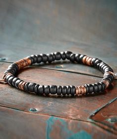 Effortlessly Cool Men's Accessories - Copper Route Bracelet - Sub pyrite or tribal silver for copper. Could also use hematite instead of wood. Paracord Bracelets, Bracelets For Men, Beaded Bracelets, Silver Bracelets, Necklaces, Graduation Gifts For Her, Unique Birthday Gifts, Unique Gifts, Best Gifts For Men