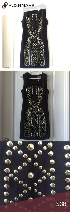 Studded Dress Brand new black dress with gold studs. It has tags still attached. Gives a really nice shape to the body and it does have a lining inside for comfort. 30% Cotton, 65% Polyester, 5% Spandex: Lining: 100% Polyester. Dresses