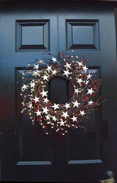 Guirnalda bayas, corona patriótica, Stars and Stripes Americana guirnalda, guirnalda de Memorial Day, guirnalda rústica Berry, rojo blanco y azul