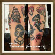 By luke ( flower is not his work) @thirteentattooco @cherryreds89
