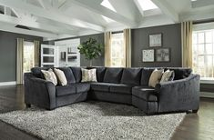 Eltmann Contemporary Slate Color Fabric Right Cuddler Sectional Sofa Cuddler Sectional, Grey Sectional, 3 Piece Sectional, Living Room Sectional, Living Room Grey, Sofa Furniture, Living Room Furniture, Living Room Decor, Antique Furniture