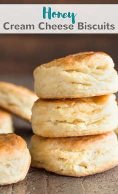 Bake up a large batch of these homemade Honey Cream Cheese Biscuits! They are easy to make and great alongside your favorite meal. #honey #creamcheese #biscuits #dinner #bread #sidedish