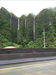 Waterfalls in Hawaii after big thunderstorm.