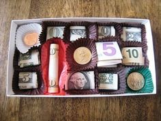 Half the fun is emptying the chocolate box before stuffing it with bills. Get the details here.