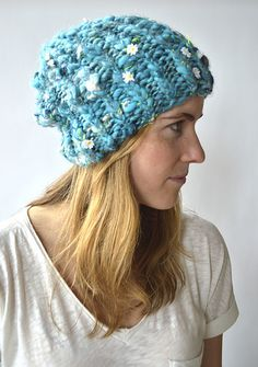 Ribby Slouch Beanie using one skein of Daisy Chain!