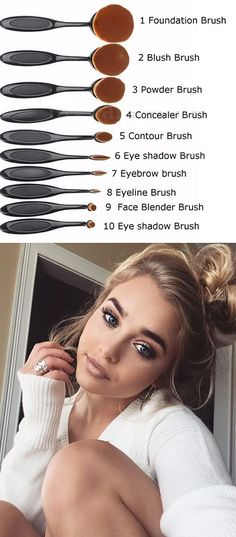 """Gold Oval Makeup Brush Set"" - Eyebrow, Foundation Cream, Powder, Blush Makeup Tools"