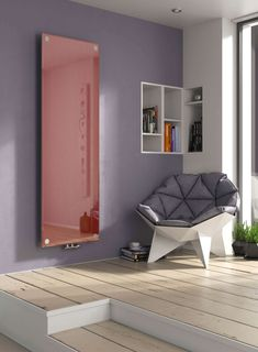 The Designer Radiator Company - Mars Vitro Single Vertical With Central Connection (Full Mirror) Vertical Radiators, Designer Radiator, Smart Home Technology, Aesthetic Room Decor, Room Goals, Home Gadgets, Fashion Room, Red Glass, Houses