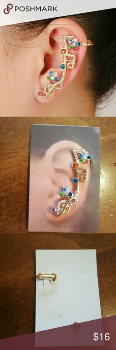 Music Notes Ear Cuff Brand new! Gold toned. Cuffs to top of ear and pierces bottom. This listing is for one only.  Offers welcome! Jewelry Earrings