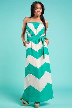 Jade Chevron Strapless Maxi Dress