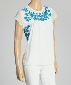 Another great find on #zulily! White & Turquoise Embroidered Sheer Cap-Sleeve Top #zulilyfinds
