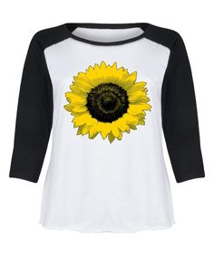 White & Black Sunflower Raglan Tee - Plus