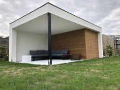 Poolhouse op maat gemaakt  Apart ontwerp voor elke klant ,  surf naar :  www.outsit.be Terrace, Garage Doors, Outdoor Decor, Home Decor, Gardens, Shed Houses, Lawn And Garden, House, Ideas
