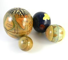 Vintage 4 Piece Wooden Nesting Globe Collectible by FeliceSereno, $25.00
