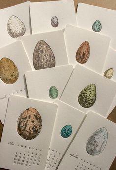 A Dozen Eggs  2013 Letterpress Calendar by MinkLetterpress on Etsy, $28.00