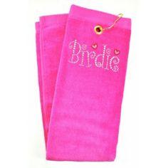 Birdie Pink crystal terry cloth golf towel