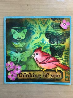 Thinking of you distressed card made with Tim Holtz inks.