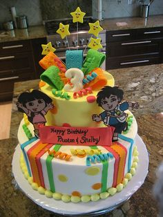 Dora & Diego cake... Peyton would absolutely love this cake for her birthday. She's been asking for a Dora, Boots and Diego birthday cake. :-)