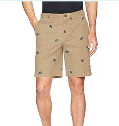 ec2bf601f2 IZOD Mens 34 Khaki Beige Saltwater Relaxed Classics Shorts Lobster Crabs  Print for sale online
