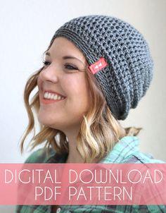 ae799f0d15f Simple Slouch Hat Crochet Pattern - Instant Download. Crochet Beanie ...