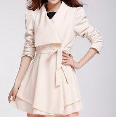 Graceful Lapel long-sleeved OL  Coat (Apricot,white,Black) Trench Coats from stylishplus.com