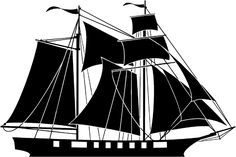 Great sailing ship silhouette vinyl sticker. Customize on line. Boats Shipping 013-0146