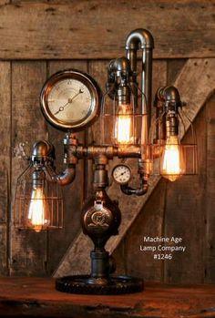 Steampunk Industrial Lamp / Antique Steam Gauge / Philadelphia / Gear / #1246