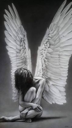 It just never seems to be windy enough to fly. - Tattoos of Hannah Fantasy Girl, Dark Fantasy Art, Angel Wings Art, Fallen Angel Art, Angel Artwork, Sad Artwork, Angel Drawing, Ange Demon, Arte Obscura