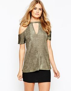 River Island Key Hole Neck Cold Shoulder T-Shirt