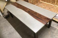 Tables métal et bois béton sur mesure par TaoConcrete sur Etsy